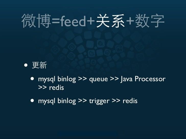 =feed+                  +•    • mysql binlog >> queue >> Java Processor      >> redis    • mysql binlog >> trigger >> redis