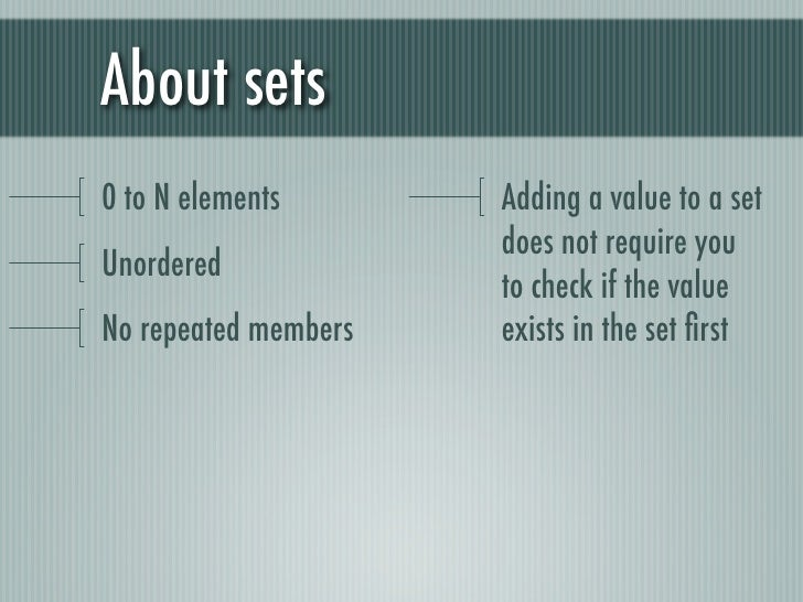 About sets0 to N elements       Adding a value to a set                      does not require youUnordered                ...