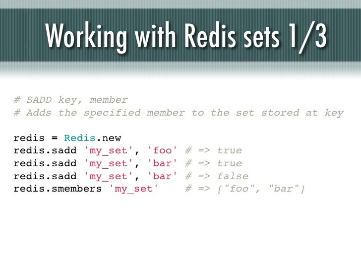 Working with Redis sets 1/3# SADD key, member# Adds the specified member to the set stored at keyredis = Redis.newredis.sa...