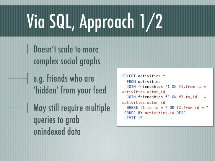 Via SQL, Approach 1/2 Doesn't scale to more complex social graphs e.g. friends who are         SELECT activities.*        ...