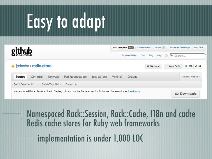 Easy to adaptNamespaced Rack::Session, Rack::Cache, I18n and cacheRedis cache stores for Ruby web frameworks   implementat...