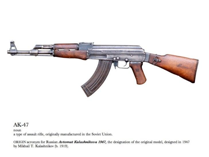 "WEAPON DESIGNAK-47Designed at the end of WWII by Mikhail KalashnikovAssault Rifle, not a ""submachine gun""Simple designDesi..."