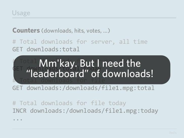 UsageUser Preferences (No login)# Save preferences from <FORM>HMSET prefs:<COOKIE HASH> background #ccc color #3...