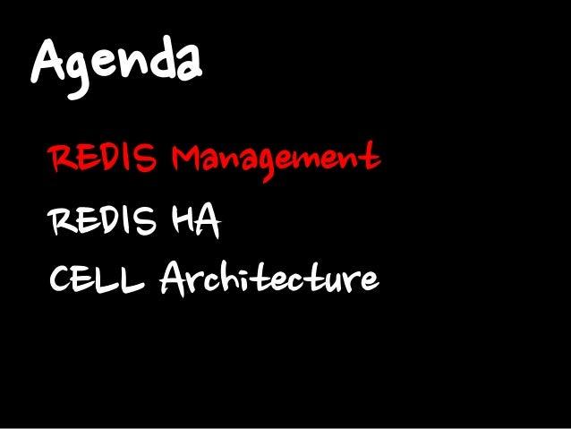 Agenda REDIS Management REDIS HA CELL Architecture