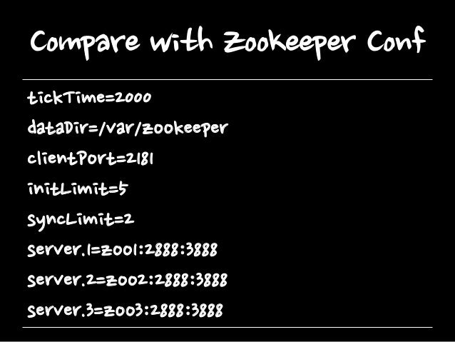 Compare with Zookeeper Conf tickTime=2000 dataDir=/var/zookeeper clientPort=2181 initLimit=5 syncLimit=2 server.1=zoo1:288...