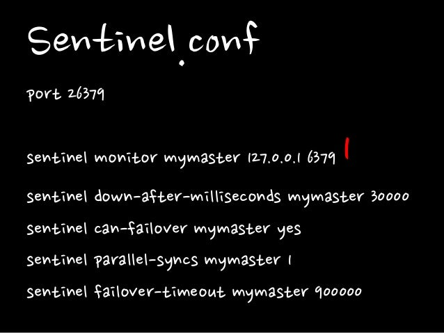 Sentinel.conf port 26379 sentinel monitor mymaster 127.0.0.1 6379 1 sentinel down-after-milliseconds mymaster 30000 sentin...