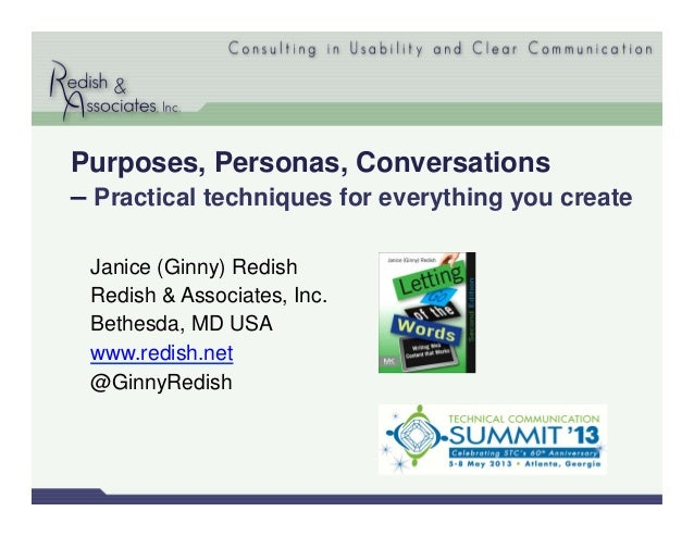 Janice (Ginny) RedishRedish & Associates, Inc.Bethesda, MD USAwww.redish.net@GinnyRedishPurposes, Personas, Conversations–...