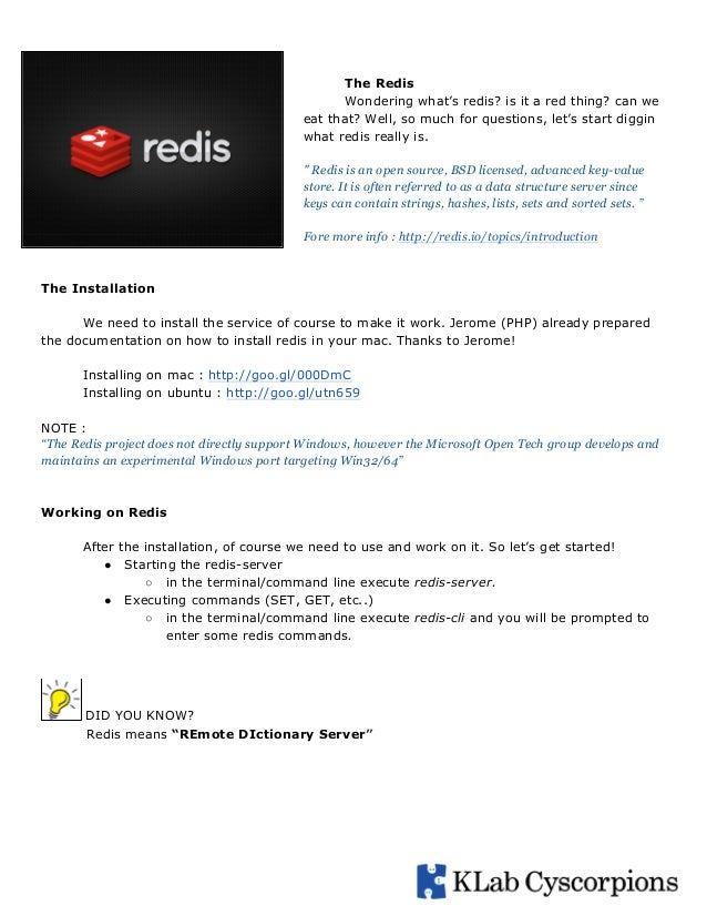 The Redis Wondering what's redis? is it a red thing? can we eat that? Well, so much for questions, let's start diggin what...
