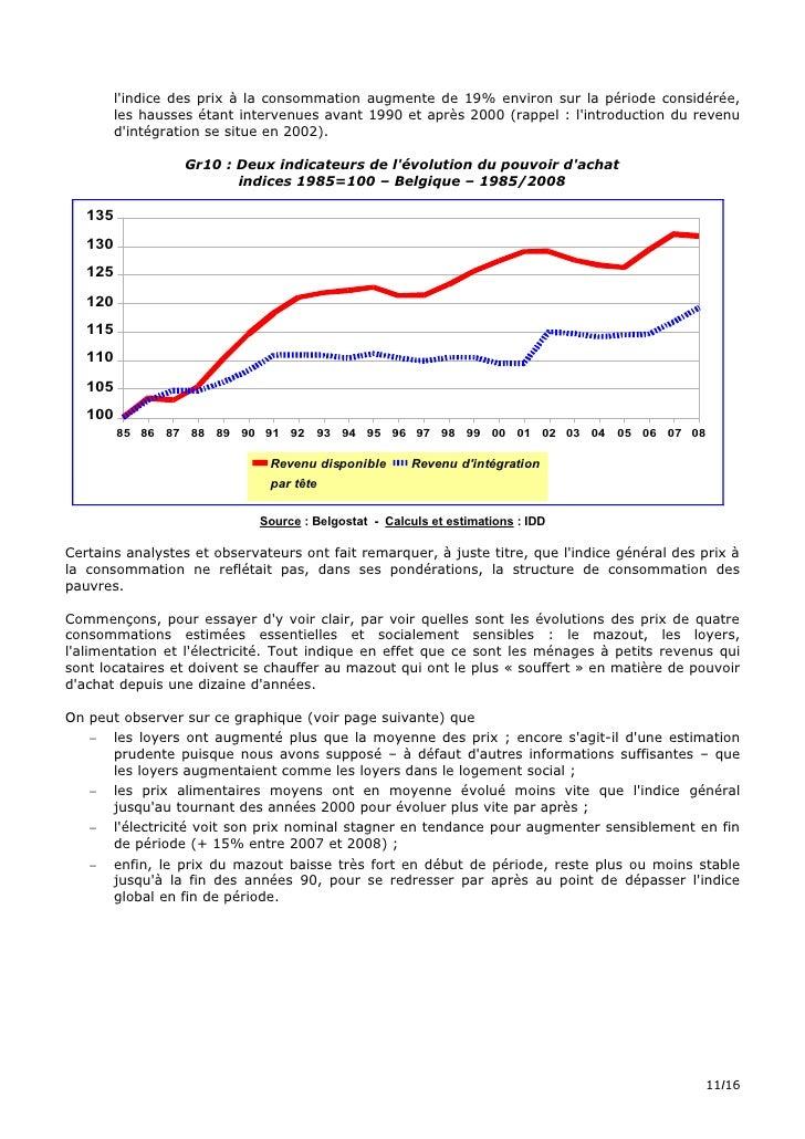 l'indice des prix à la consommation augmente de 19% environ sur la période considérée,          les hausses étant interven...