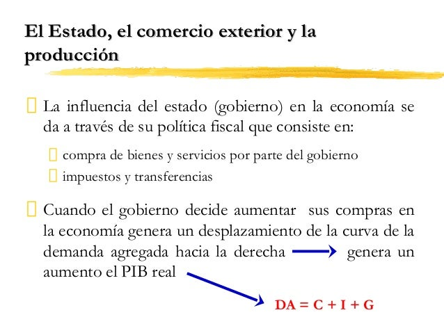 El Estado, el comercio exterior y la producción La influencia del estado (gobierno) en la economía se da a través de su po...