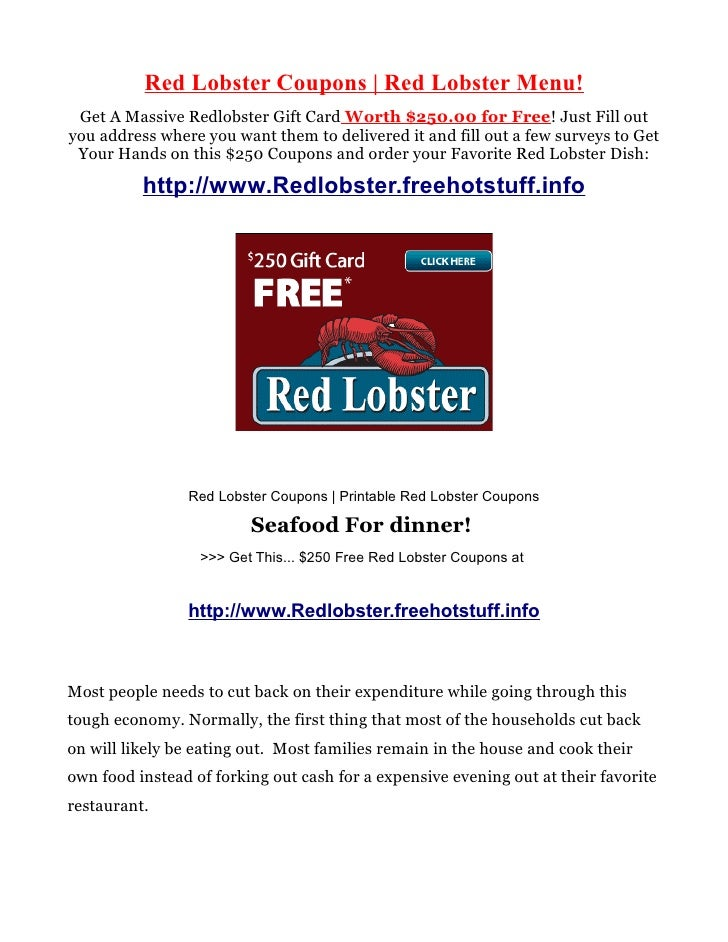 red lobster coupons red lobster menu get a massive redlobster gift card worth 25000