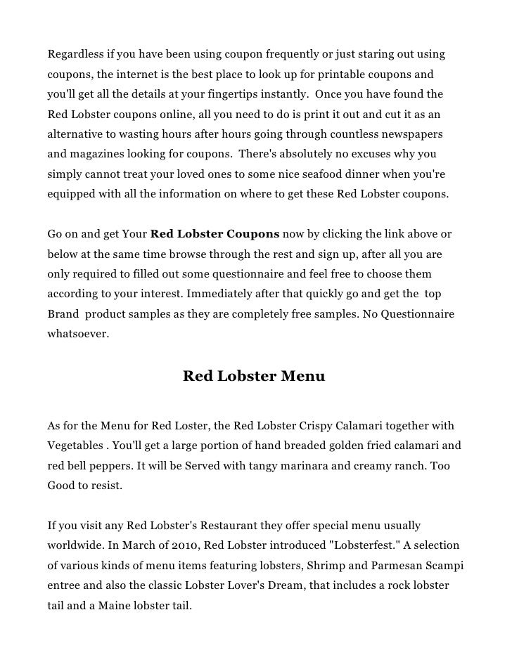 photograph regarding Red Lobster Coupons Printable referred to as Pink lobster discount coupons and purple lobster menu ideas