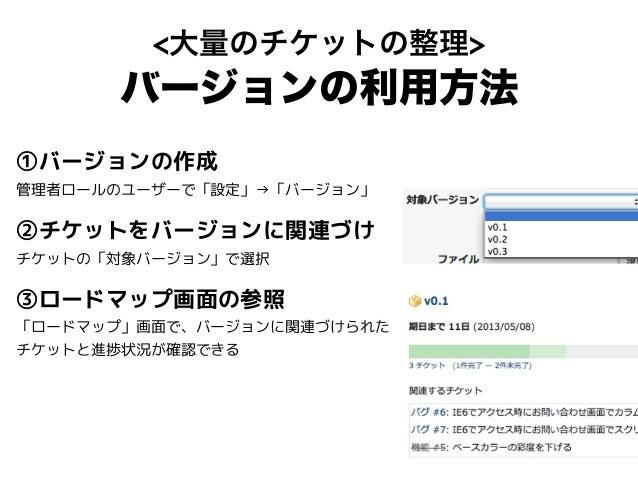 <大量のチケットの整理> バージョンの利用方法 ①バージョンの作成 管理者ロールのユーザーで「設定」→「バージョン」 ②チケットをバージョンに関連づけ チケットの「対象バージョン」で選択 ③ロードマップ画面の参照 「ロードマップ」画面で、バージ...