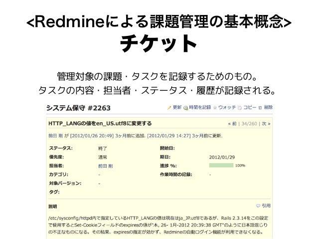 <Redmineによる課題管理の基本概念> チケット 管理対象の課題・タスクを記録するためのもの。 タスクの内容・担当者・ステータス・履歴が記録される。