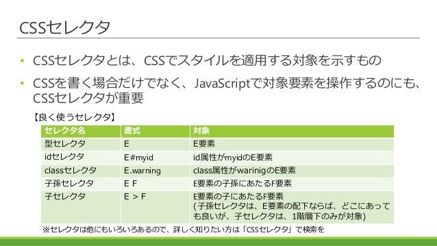 CSSセレクタ • CSSセレクタとは、CSSでスタイルを適用する対象を示すもの • CSSを書く場合だけでなく、JavaScriptで対象要素を操作するのにも、 CSSセレクタが重要 セレクタ名 書式 対象 型セレクタ E E要素 idセレク...