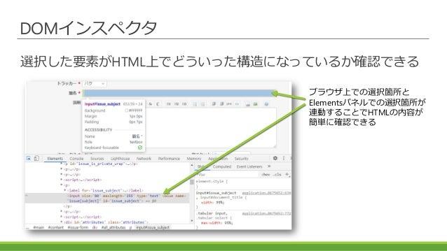 DOMインスペクタ 選択した要素がHTML上でどういった構造になっているか確認できる ブラウザ上での選択箇所と Elementsパネルでの選択箇所が 連動することでHTMLの内容が 簡単に確認できる