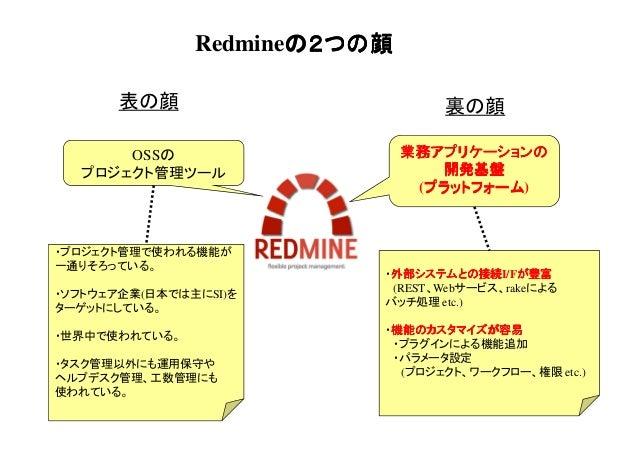 Redmineの2つの顔 の2つの顔 表の顔 OSSの プロジェクト管理ツール  裏の顔 業務アプリケーションの 開発基盤 (プラットフォーム プラットフォーム) プラットフォーム  ・プロジェクト管理で使われる機能が 一通りそろっている。 ・...