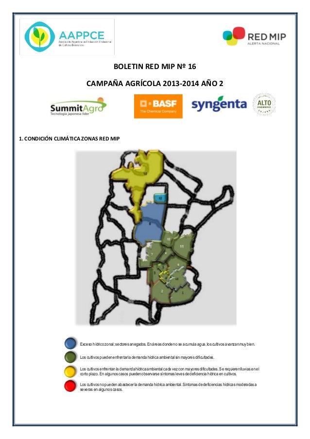 BOLETIN RED MIP Nº 16 CAMPAÑA AGRÍCOLA 2013-2014 AÑO 2 1. CONDICIÓN CLIMÁTICA ZONAS RED MIP Exceso hídrico zonal; sectores...