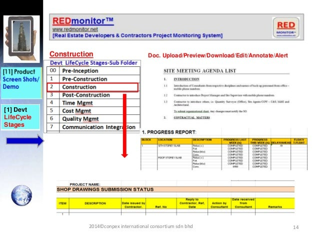 14 [1] Devt LifeCycle Stages Construction Doc. Upload/Preview/Download/Edit/Annotate/Alert 2014©conpex international conso...