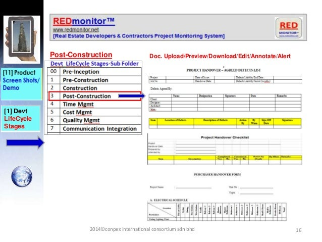 16 [1] Devt LifeCycle Stages Post-Construction Doc. Upload/Preview/Download/Edit/Annotate/Alert 2014©conpex international ...