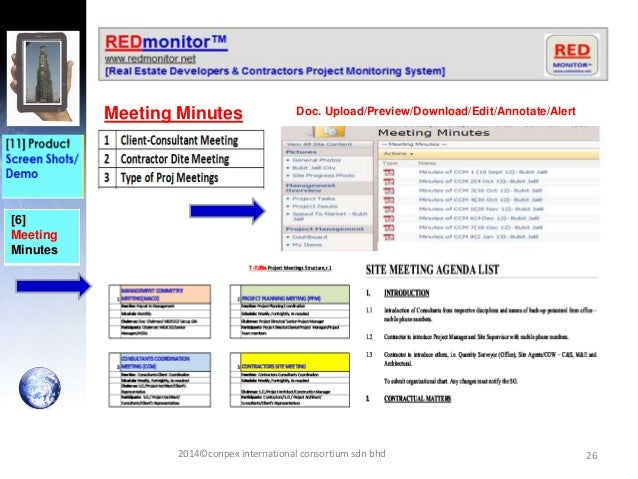 26 [6] Meeting Minutes Meeting Minutes Doc. Upload/Preview/Download/Edit/Annotate/Alert 2014©conpex international consorti...