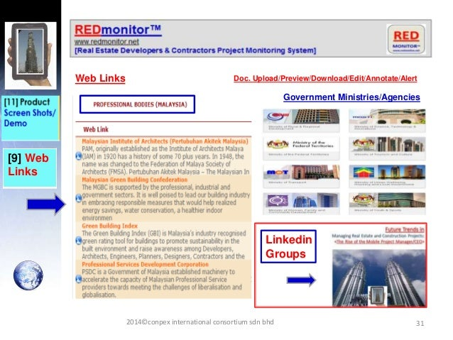 31 [9] Web Links Web Links Doc. Upload/Preview/Download/Edit/Annotate/Alert Government Ministries/Agencies 2014©conpex int...