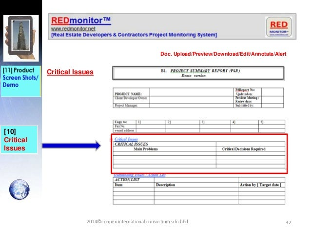 32 [10] Critical Issues Critical Issues Doc. Upload/Preview/Download/Edit/Annotate/Alert 2014©conpex international consort...