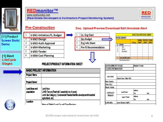 8 [1] Devt LifeCycle Stages Pre-Construction Doc. Upload/Preview/Download/Edit/Annotate/Alert 2014©conpex international co...
