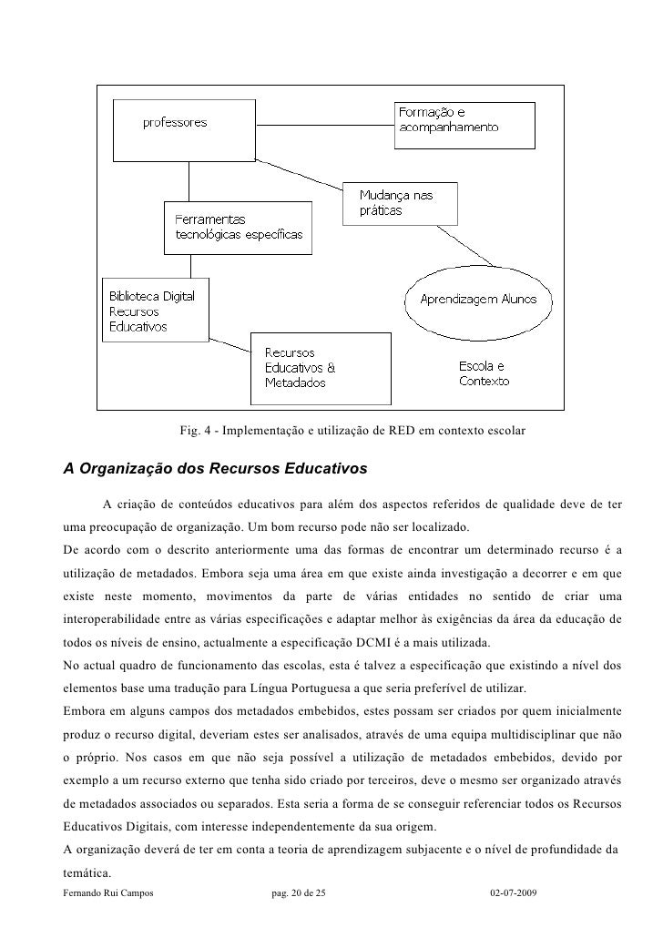 Fig. 4 - Implementação e utilização de RED em contexto escolar  A Organização dos Recursos Educativos          A criação d...