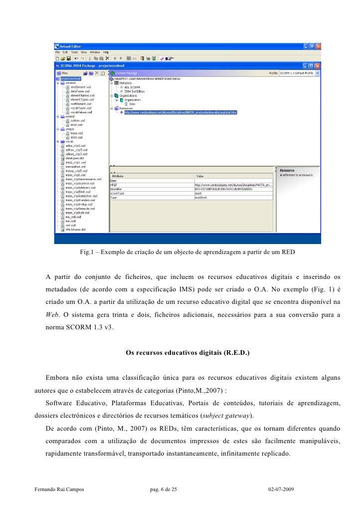 Fig.1 – Exemplo de criação de um objecto de aprendizagem a partir de um RED       A partir do conjunto de ficheiros, que i...