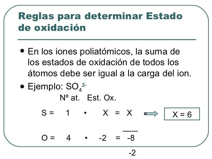 <ul><li>En los iones poliatómicos, la suma de los estados de oxidación de todos los átomos debe ser igual a la carga del i...