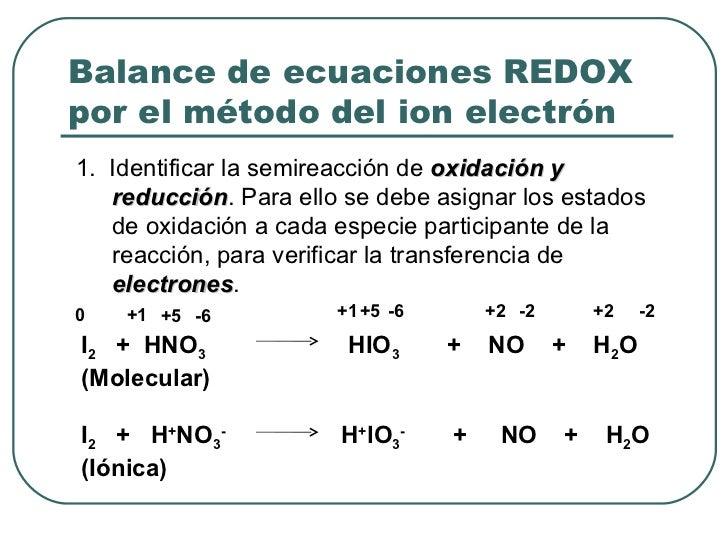 Balance de ecuaciones REDOX por el método del ion electrón <ul><li>1.  Identificar la semireacción de  oxidación y reducci...