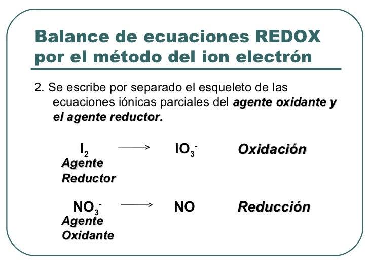Balance de ecuaciones REDOX por el método del ion electrón <ul><li>2. Se escribe por separado el esqueleto de las ecuacion...