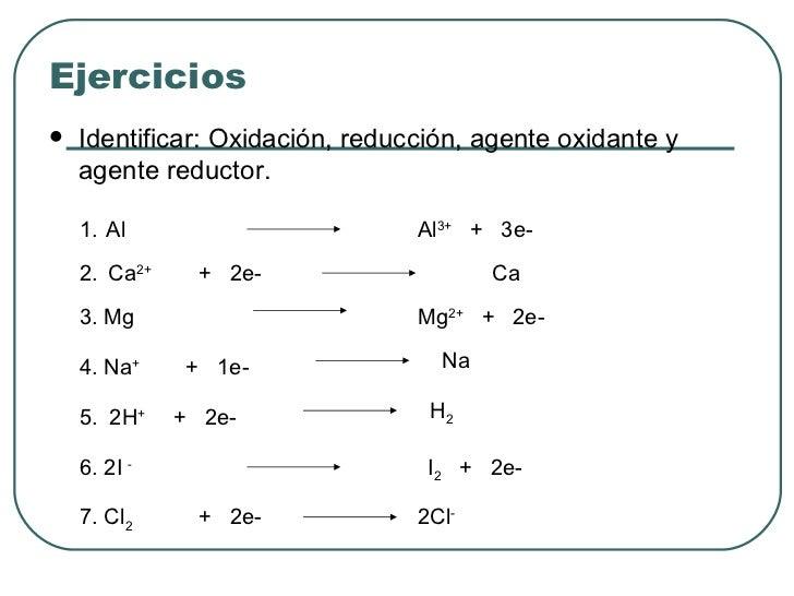 Ejercicios <ul><li>Identificar: Oxidación, reducción, agente oxidante y agente reductor. </li></ul>1. Al   2. Ca 2+   3. M...
