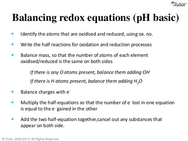 balance redox reaction It takes two: the redox reaction of metallic zinc atoms with aqueous nickel ions  is described by the sum of the two half-reactions these half-reactions occur.