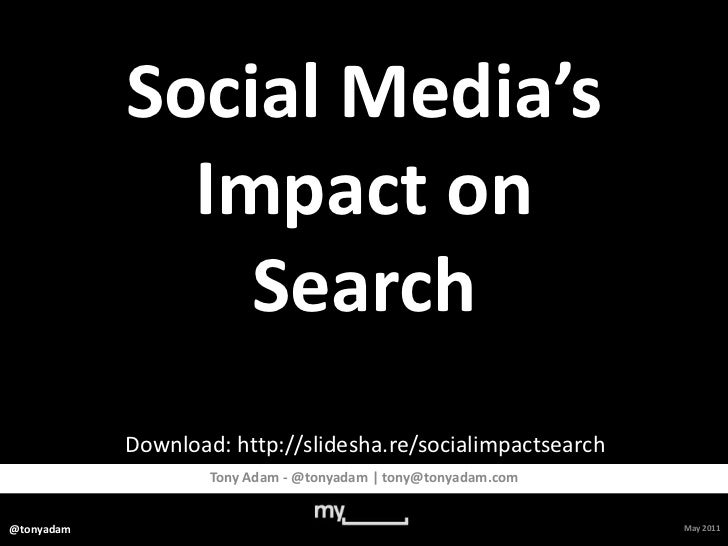Social Media's<br />Impact on<br />Search<br />Tony Adam - @tonyadam | tony@tonyadam.com<br />May 2011<br />