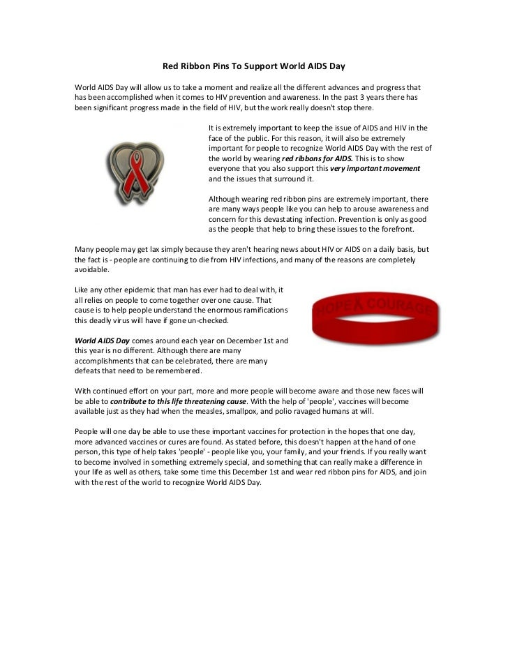 Red Ribbon Pins To Support World AIDS DayWorld AIDS Day will allow us to take a moment and realize all the different advan...