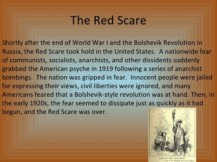 "a history of the red scare in 1919 in the united states The united states was also facing issues with radicals at home  was deported during this ""first red scare""  american history 1919, 1920, 1929,."