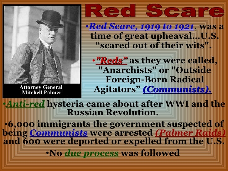 the causes of the infamous red scare between 1919 1921 His122ch2122 study play  in 1919, the red scare in the united states was partly motivated by a series of bombings  the infamous baltimore journalist of the 1920s who delighted in ridiculing religion, politics, the arts, and even democracy itself, was h l mencken.