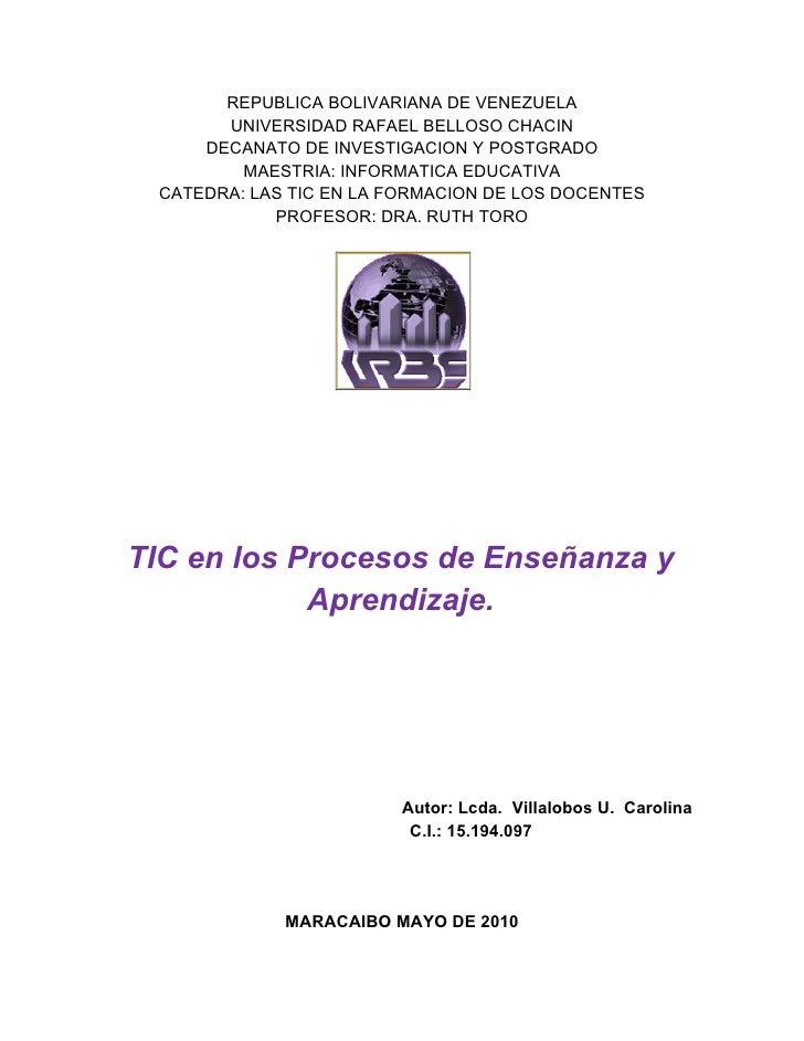 REPUBLICA BOLIVARIANA DE VENEZUELA        UNIVERSIDAD RAFAEL BELLOSO CHACIN      DECANATO DE INVESTIGACION Y POSTGRADO    ...