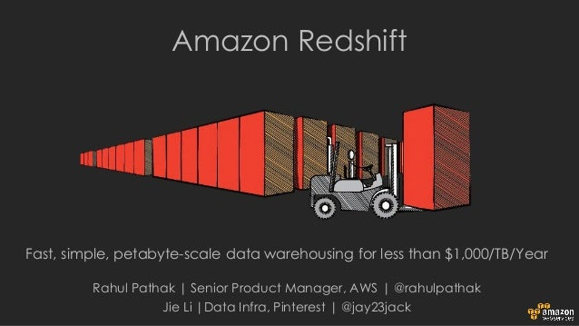 Fast, simple, petabyte-scale data warehousing for less than $1,000/TB/Year Amazon Redshift Rahul Pathak | Senior Product M...
