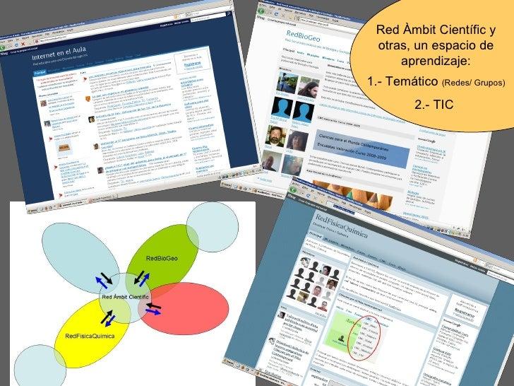 Red Àmbit Científic y otras, un espacio de aprendizaje: 1.- Temático  (Redes/ Grupos) 2.- TIC