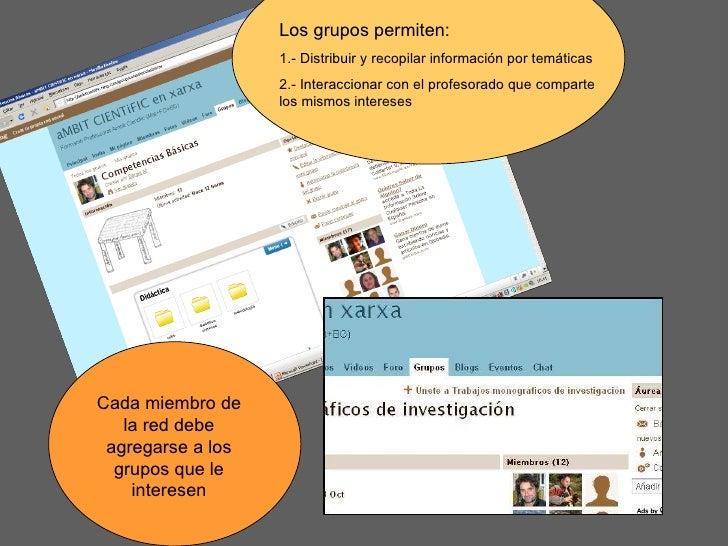 Los grupos permiten: 1.- Distribuir y recopilar información por temáticas 2.- Interaccionar con el profesorado que compart...