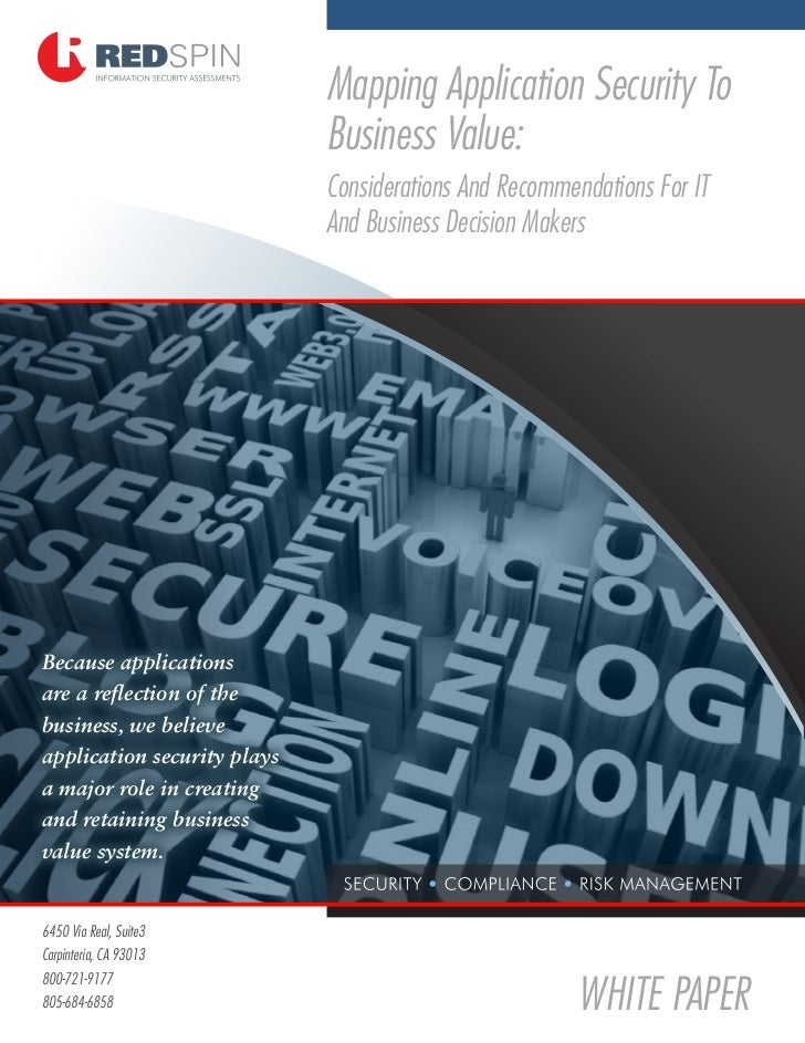 Mapping Application Security To                              Business Value:                              Considerations A...
