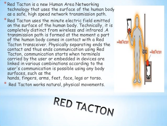red tacton working The powerpoint ppt presentation: red tacton a new human area networking is the property of its rightful owner do you have powerpoint slides to share if so, share your ppt presentation slides online with powershowcom.