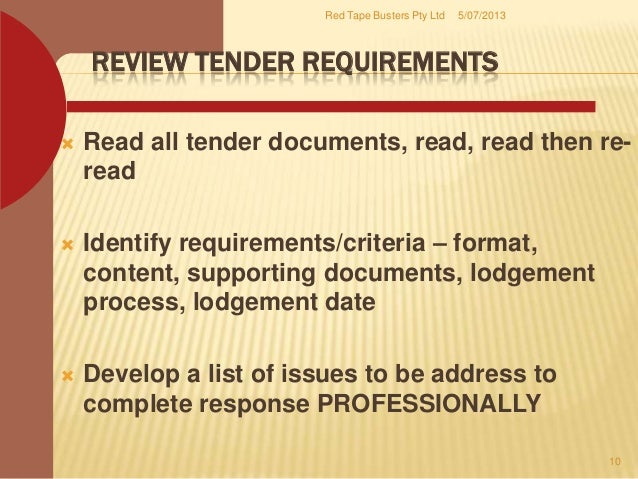 Red tape busters offers tender writing services for Prepare tender documents