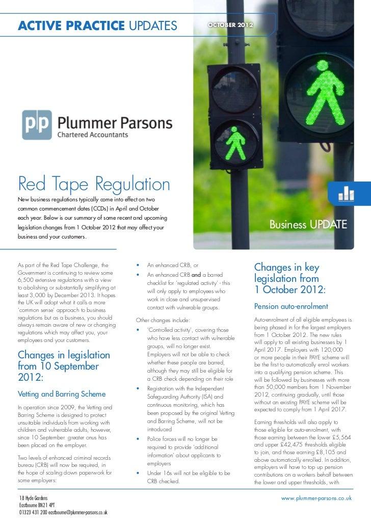 ACTIVE PRACTICE UPDATES                                                              OCTOBER 2012Red Tape RegulationNew bu...