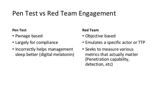 Pen Test vs Red Team Engagement Pen Test • Pwnage based • Largely for compliance • Incorrectly helps management sleep bett...