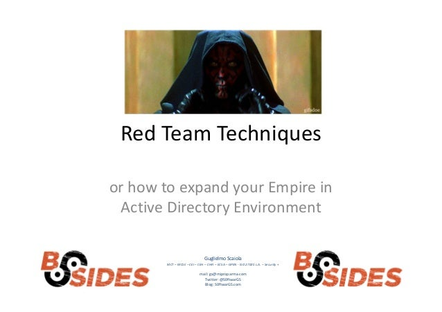 Red Team Techniques or how to expand your Empire in Active Directory Environment Guglielmo Scaiola MCT – MCSE – CEI – CEH ...