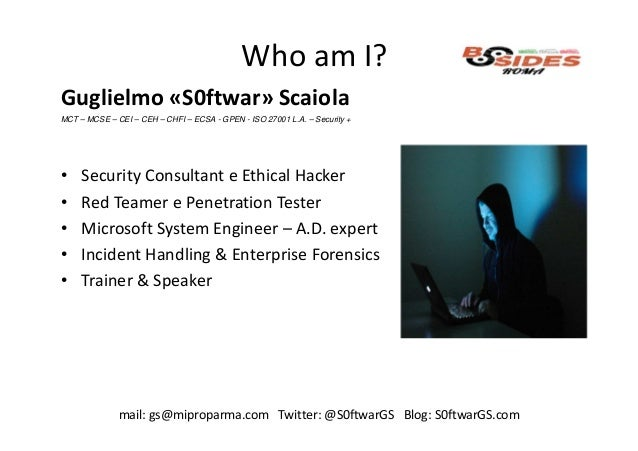 BSides Roma 2018 - Red team techniques Slide 2